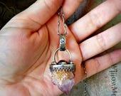 Gypsy Heart - Spirit Quartz and Smoky Quartz Sterling Silver Handcrafted Necklace - Boho - Witchy - Bohemain - Cactus Quartz - Fairy