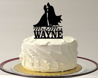 MADE In USA, Personalized Superhero With Cape and Bride Wedding Cake Topper, Silhouette Wedding Cake Topper Superhero Bride and Groom