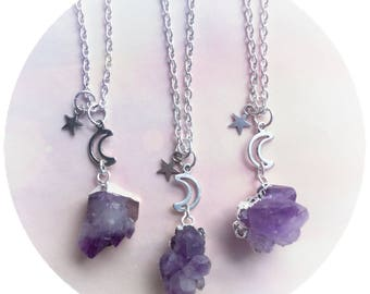 Amethyst Crystal Gemstone necklace, Raw stone