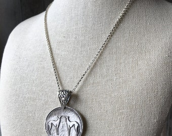 Two of a Kind Greyhound Fine Silver Pendant With Sterling Silver Necklace - Large - Two Greyhounds