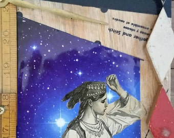 First Star to the Right: Original wall art, mixed media collage, upcycled assemblage art, sustainble art by Leslee Lukosh of Foundturtle