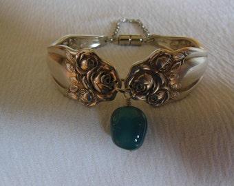 Roses and Aquamarine    Antique Fork Bracelet   7.5 inch