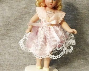 REDUCED Doll, Porcelain, Handmade, 1980s, Three and Three Quarter Inches Tall