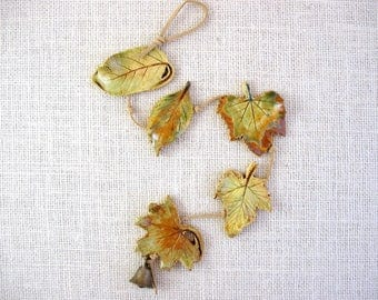 Mini Clay Leaves Wall Hanging (5 leaves) - Made with Real Leaves - Small Decorative Leaf String - Tiny Leaves - Plant Lover or Gardner Gift