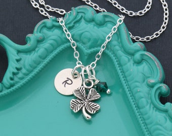 Lucky Necklace Clover Necklace Charm Clover Leaf Jewelry • Shamrock Good Luck Charm Gift Clover Dainty Luck Necklace • Four Leaf Clover