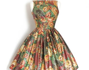 Burgundy Floral Glazed Tiffany Prom Dress - Made by Dig For Victory