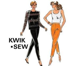 90s Kwik Sew 2086 Womens Top & Slim Pants Sewing Pattern Size 4 6 8 10 UNCUT Factory Folds