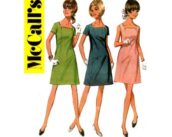 McCall's 9265 Mod 60s Square Neckline Dress Vintage Sewing Pattern Size 14 Bust 34 inches UNCUT Factory Folded