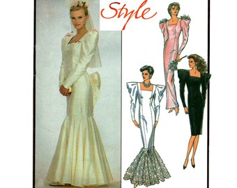 Style 1148 Womens Fishtail Mermaid Sheath Wedding Dress Bridalwear Prom Bridesmaid 80s Vintage Sewing Pattern Size 8 Bust 31 1/2 inches