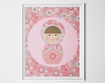 Russian Doll Print, Babushka Doll Art, Russian Art Print, Matryoshka Print, Girls Room Decor, Baby Girl Nursery, Pink Nursery