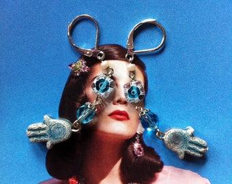 Fris blauwe Hamsa en Millefiori oorbellen