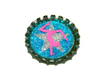 Bottle Cap Magnet - Gymnastics Star Glitter - Single Magnet