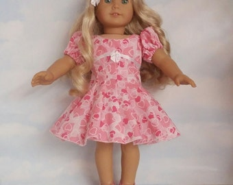 18 inch doll clothes- Pink Heart Dress handmade to fit the American Girl Doll - FREE SHIPPING