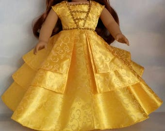 18 inch doll clothes - 2017  Belle Gown made to fit the American Girl Doll - FREE SHIPPING in USA