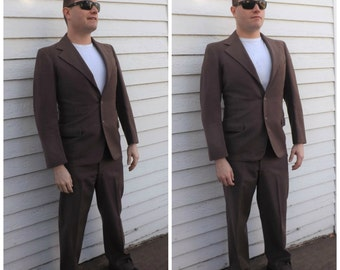 Brown Suit 70s Mens Vintage 3 pc Retro Wool Blend 38