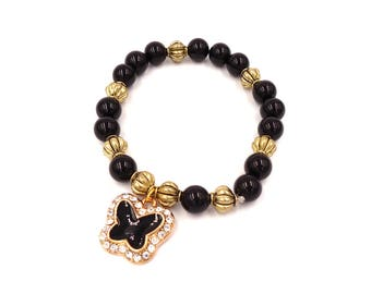 Black Agate Bracelet - Butterfly Charm Bracelet - Crystal Bracelet - Healing Stones - Women Charm Bracelet - Bead Bracelet Gemstone Bracelet