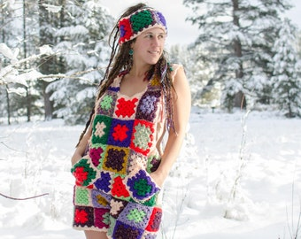 Patchwork Granny Squares Crochet Romper with Matching Headband