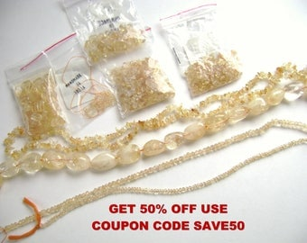 Citrine Beads, 50% OFF with SAVE50 Coupon, Gemstone Grab Bag, Quartz Bead, Jade Bead, Amber Bead, Destash, Gemstone Bead, Jewelry Supply