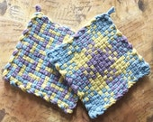 David's Potholders - Cotton Potholders - Sky Blue Lavender and Canary Hot Pad - Woven Pot Holders - Cotton Trivet - Handmade - Set of 2