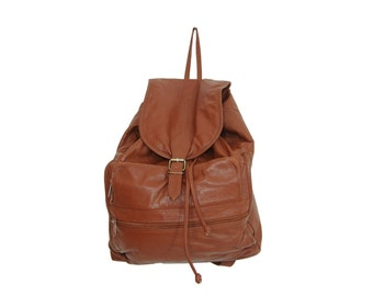 Soft Conjac Brown Leather Backpack | Vintage Slouchy Drawstring Backpack