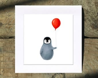 Penguin with Red Balloon 5 Inch Square Blank Cards by SBMathieu