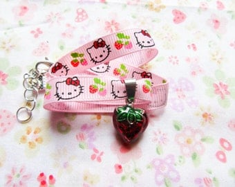 Kawaii/Cute Strawberry Charm Choker, Cute Choker, Kawaii Choker, Sweet Lolita, Choker Necklace, Strawberry, Pink