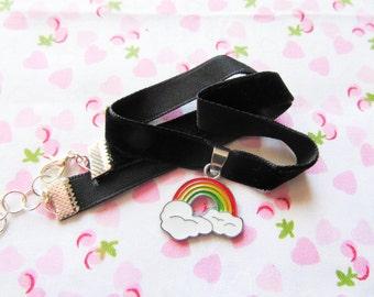 Rainbow Velvet Choker, Black Velvet Choker, Charm Choker, Rainbow Choker, Cute Choker, Kawaii Choker, Choker Necklace