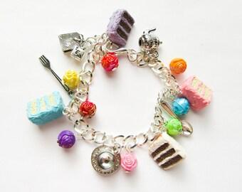 Tea Time Cake Bracelet / Tea / Cake / Charm Bracelet / Kawaii Bracelet / Cute Bracelet / Food Bracelet / Tea / Cake / Bracelet