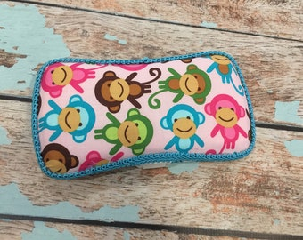 Monkey Pink and Black Travel Wipe Case Baby Wipe Case Ready to Ship