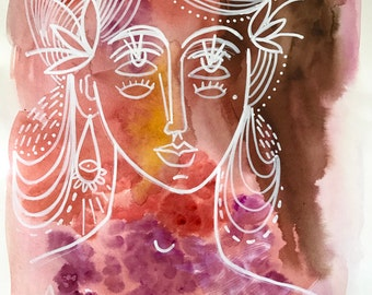 Visionary Woman #1 Original Painting in Blush Tones and White on Watercolor Paper