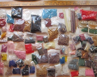 huge GLASS SEED BEAD destash - 8 pounds, 100 plus bags/packages - assorted colors, large assortment