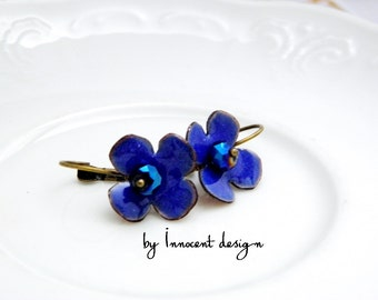 Forgetmenot- blue - enamel earrings - flower