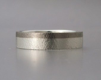 Unisex Mixed Metals Wedding Band - two tone flat wedding band in Sterling Silver with Palladium