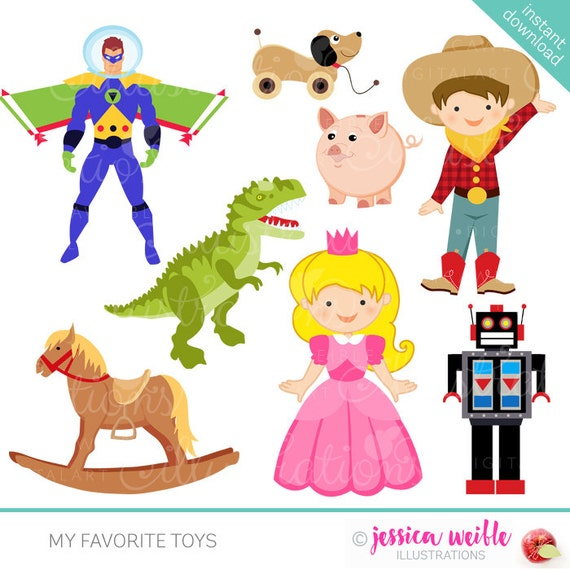 My Favorite Toys Cute Digital Clipart - Commercial Use OK - Cowboy, Dinosaur, Princess, Space Man Graphics, Toy Clipart