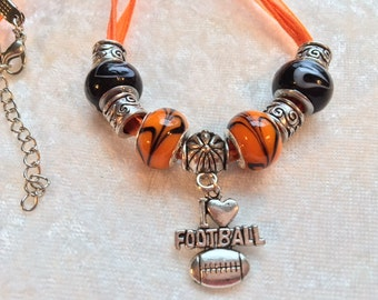 Orange Necklace, Football Necklace, Oregon State, I Love Football Silver Charm, Lampwork Glass Beads, Voile Ribbon Necklace, Oregon Beavers