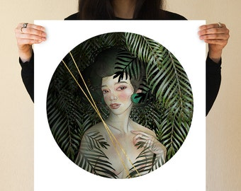 Palm Jungle Mexico Japanese Girl Print by JUURI Beautiful Delicate Nude Female Woman Rain Forest Botanical Plants Yucatan Jade Green Circle