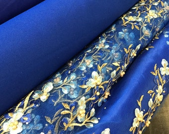 "56"" Wide Royal Blue Fabric Lining Satin Gabardine Taffeta Four Way Stretch Mesh Charmeuse Embroidered Beaded Rhinestone 3D Gold Floral Tulle"