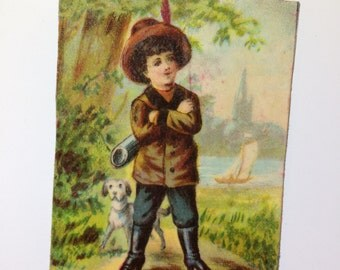 Magnet with upcycled scrap illustrations, dapper young hunter.