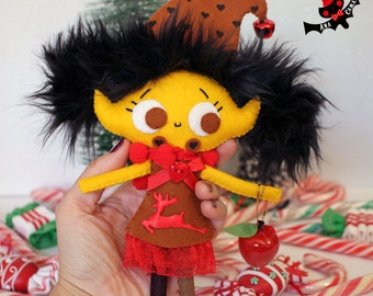 Christmas elf pixie doll little plush cute girl