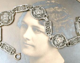 Antique Edwardian Silver Filigree Rhinestone Bracelet, Vintage Art Deco 1920s 1930s Wedding Rhodium Wide Link Paste Bridal Bracelet Flapper