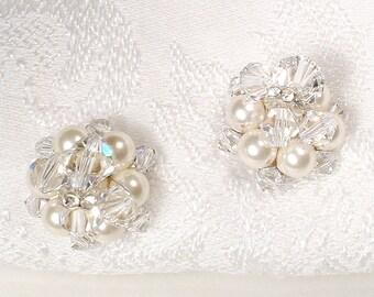 Vintage Crystal, Rhinestone & Ivory Pearl Earrings, 1950's Silver Bridal Earrings, Stud Cluster Earrings Now Posts/Pierced Modern PRISTINE