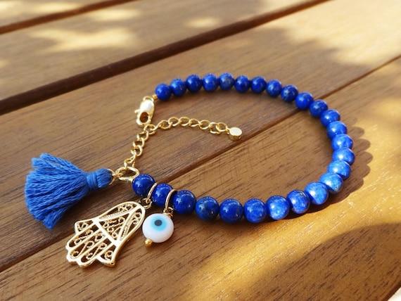 Evil Eye Beaded  Hamsa Bracelet - Lapis Lazuli Bracelet - Tassel Bracelet