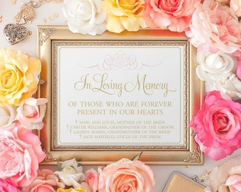 In Loving Memory Sign, Forever in our Hearts Sign, Memory Sign, Memorial Table Sign, In Memory, Wedding Sign, PRINTED WITH NAMES sign 8 x 10