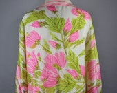 70s Women's Vera Silk Blouse, Pink Floral, Spring Blouse, Resort, Vacation, Wedding Guest, Op Art, Size Large