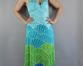 Hawaiian Maxi Dress, 70s Swimsuit Fabric Pool Dress, Hawaiian Dress, Seashells, Blue, Halter Dress, Beach Coverup, Modern, Cruise, Medium