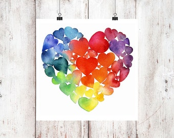 Bleeding Hearts Watercolor Print, Heart Print, Heart painting, Rainbow Print, Rainbow hearts watercolour painting, Heart Collection Print,