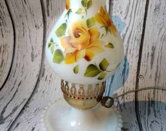 Vintage Milk Glass Lamp - Hand Painted Lamp - Yellow Rose Lamp - Cottage Style Lamp - Boudoir Lamp - Hobnail Glass Lamp - 1950s Home Decor