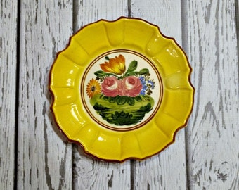 Yellow Ceramic Plate - Flowered Ceramic Plate - Pink Flower Plate - Italian Pottery Plate - Snack Plate - Cheese Plate - Dessert Plate