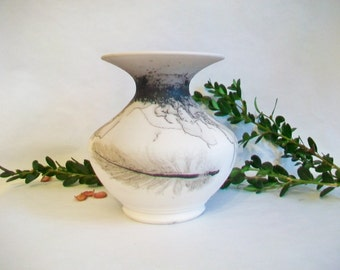 Horsehair and Feather  Burned onto Porcelain Vase - Black and White Vase -   Ready to Ship - Actual Vase