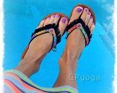 RAINBOW Black flip flops US size 6-7 Leather Fringe sandals Colorful shoes Bohemian Summer Flower Girl Womens Fashion Festival Shoes GPyoga